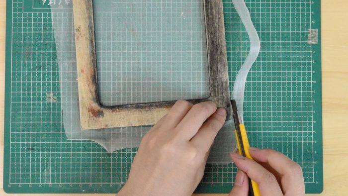 スクリーンの張り方-絹9