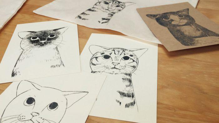 ガリ版印刷「猫を刷る」 in産経学園(新百合ケ丘教室)